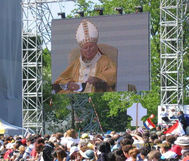 April 2005 - John Paul II on 6 June 2004, offering an open-air Sunday mass in Bern, Switzerland
