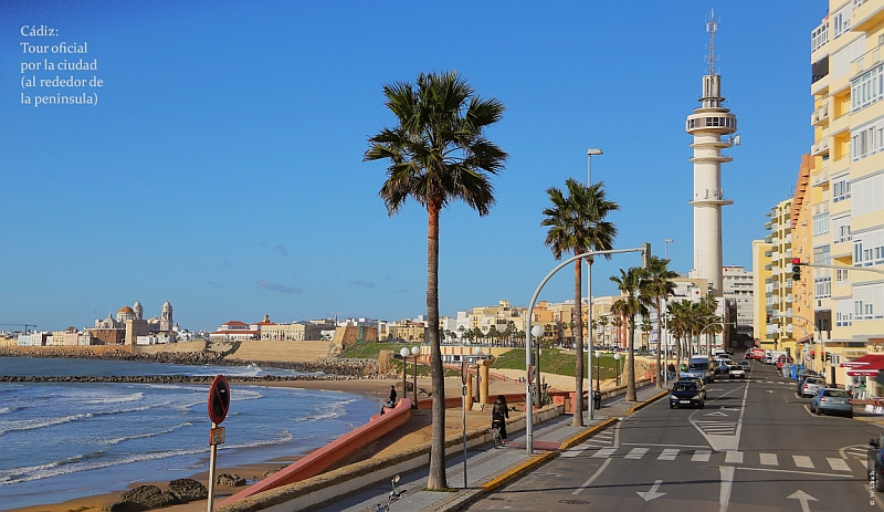 The peninsula of Cádiz with the faro (right) and the old town (left)