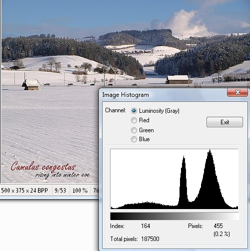 A typical histogram of a winter picture with sun and snow