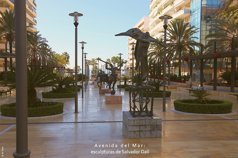 The Avenida del Mar with its surrealistic sculptures by Dalí and Soriano