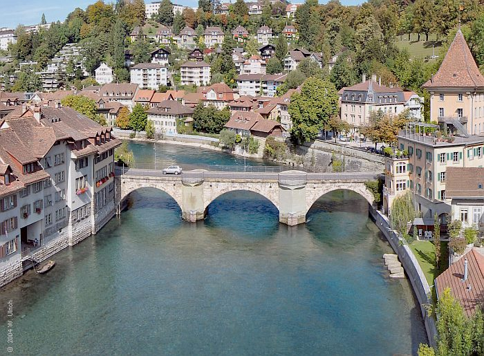 October 2004 - Lower Gate Bridge Untertorbrücke) in the old town of Bern, Switzerland