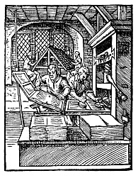 Woodblock printing press of 1568 (Source: public domain - Wikimedia Commons)