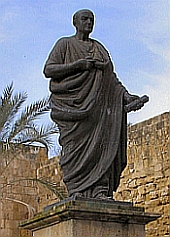 Statue of Seneca in Cordoba, Spain (picture by G.B. Pedersen, in the public domain)