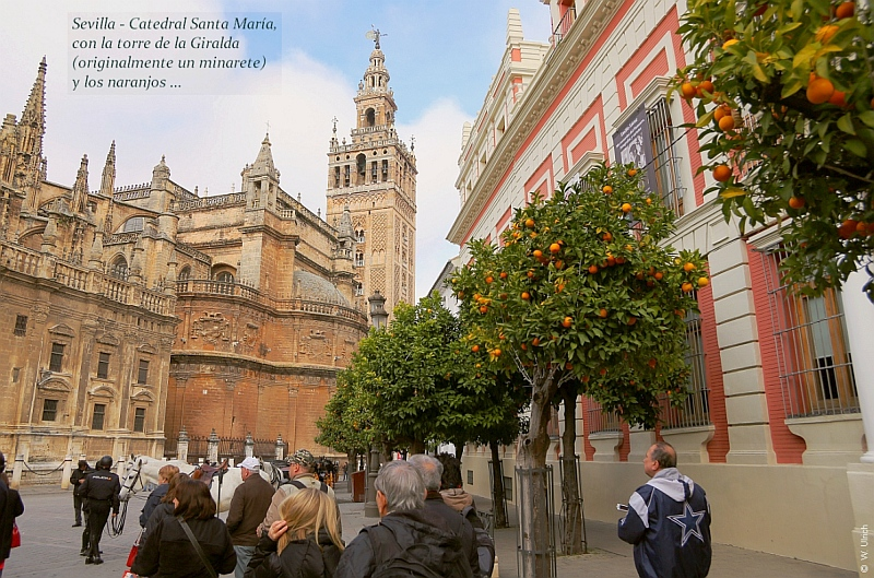 Sevilla's Santa Maria Cathedral with the Giralda tour (a minaret integrated in the cathedral)